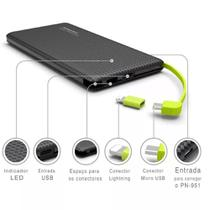 Power Bank Pineng Original Slim 10000 Mah Real Pn-951 Preto