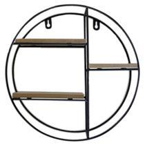 Prateleira decorativa redonda aramado / madeira com 3 divisorias black 10x28,5cm de ø - Wincy