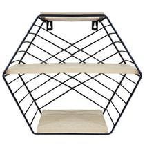 Prateleira decorativa sextavada aramado / madeira com 3 divisorias black 28x26x11cm - Wincy
