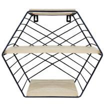 Prateleira decorativa sextavada aramado / madeira com 3 divisorias black 28x26x11cm - Wincy -