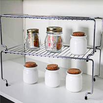 Prateleira Empilhável Suporte Aço Cromado Organizador Multiuso 44x25x18cm Armário Cozinha Closet - Nacional