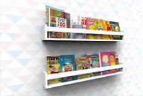 Prateleira Para Livros Infantil Enfeite Quarto Bebê Nicho Branco MVD Móveis -