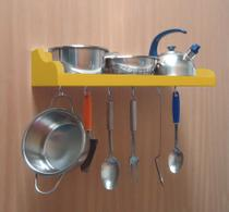 Prateleira Suporte Porta Panelas e Utensílios de Cozinha - Amarelo Laca - Formalivre