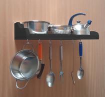 Prateleira Suporte Porta Panelas e Utensílios de Cozinha - Preto Laca - Formalivre