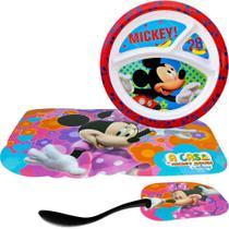 Prato Com Divisórias Mickey Disney + Jogo Americano Minnie + Colher - Gedex/Wei/Bestfer
