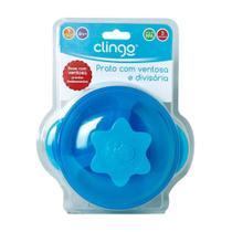 Prato com ventosa e divisória Azul - Clingo -