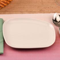 Prato de Sobremesa Assimétrico Corona de Porcelana Branco 20x22x21cm -