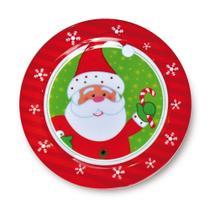 Prato De Sobremesa Mesa Natal Melamina 22,5 Cm Vermelha - Cromus