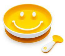 Prato de Treinamento com Ventosa e Colher Sorriso Amarelo - Munchkin -