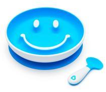 Prato de Treinamento com Ventosa e Colher Sorriso Azul - Munchkin -