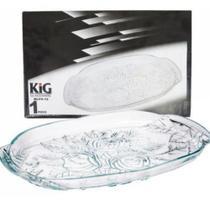Prato de Vidro Oval Flor 33 cm - KIG