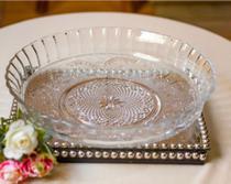 Prato De Vidro Retrô Com Borda Para Bolo Pudim Torta Em Vidro 30 cm Resistente - Kig