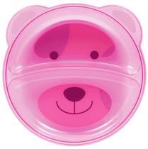 Prato Infantil Bebê Com Divisórias Urso Rosa Buba -