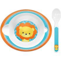 Prato infantil com colher Leão para Papinha Crianças e Bebê Buba -