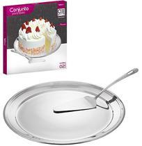 Prato para bolo / doces com espatula de inox 31cm de ø / 25cm ox prime premium na caixa - Wellmix