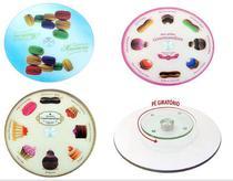 Prato para bolo giratório vidro c/pe decorado estampas sortidas ca12197a - IMPORIENTE
