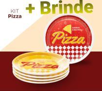 Prato Pizza Conjunto 5 Peças Cerâmica Oxford Premium -