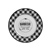 Prato Sobremesa de Cerâmica Barbecue Preto / Branco 19,5cm - Alleanza