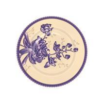 Prato Sobremesa Heritage Azul Com Amarelo Avulso da Alleanza -