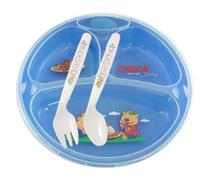 Prato Térmico Infantil de 3 Divisões com Ventosa Chuca Baby - Azul -