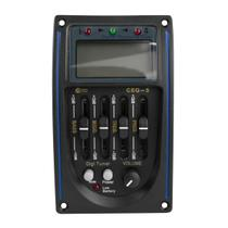 Pré Equalizador P/ Violão Acústico Custom Sound CEQ5BK 9V Afinador Digital -
