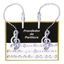 Prendedor Partitura Clipet Corrente Cromado Clave De Sol PPT080 - Paganini