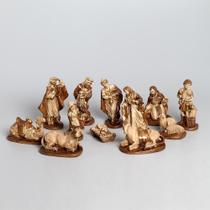 Presépio 20cm 12 peças Italiano Gesso Marrom - Odorizzi