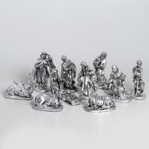 Presépio 20cm 12 peças Italiano Gesso Prata - Odorizzi
