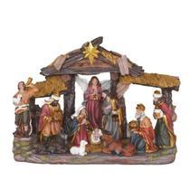 Presépio de Natal Completo 11 Peças 35x25cm Resina Importado - Sacro