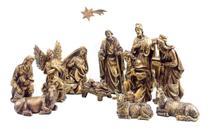 Presépio Natalino 12 Peças Ouro Antigo Inquebrável - Procade