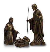 Presépio Natalino 3 Peças Ouro Antigo Inquebrável - Procade