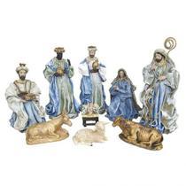 Presépio Natalino 9 peças resina e tecido Azul - 30 cm - Zona Livre