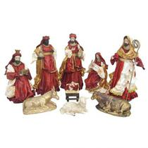 Presépio Natalino 9 peças resina e tecido vermelho - 30 cm - Zona Livre