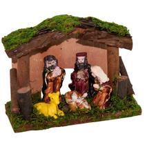 Presépio resina sagrada família com estabulo em madeira 11x15cm - c.o -