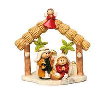 Presépio Sagrada Família Em Casinha C/Anjo 11cm Bege - Cromus
