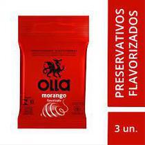 Preservativo Olla Morango - Com 3 Unidades -