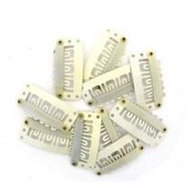 Presilha Tic Tac para apliques, perucas e alongamentos 10un bege - Lynx Produções Artistica