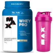 Pro Whey Concentrado 1kg Baunilha + Coqueteleira - Max Titanium -