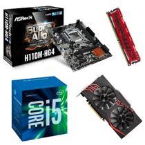 Processador Intel Core i5 7400 7ª Geração + Placa mãe H110M + Memória 4GB DDR4 + Placa de Vídeo 1070 Kit upgrade - Asrock