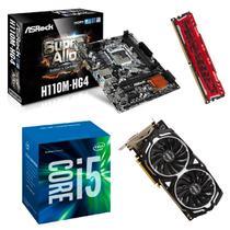Processador Intel Core i5 7400 7ª Geração + Placa mãe H110M + Memória 8GB DDR4 + Placa de Vídeo 1060 Kit upgrade - Arosck