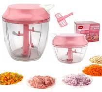 Processador Triturador de Alho Cebola Temperos Alimentos Manual 3 e 5 Laminas kit Rosa Clink -