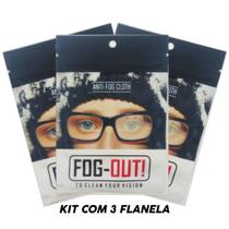 *promo* Kit 3 Flanela Antiembaçante Óculos, Viseira - Fog-Out