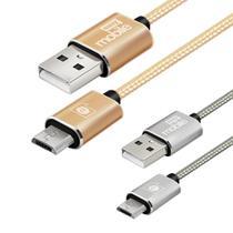 Promo Leve 2 Pague1Cabo Premium Micro USB 2m e 1m nylon trançado reforçado dourado prata Easy Mobile -