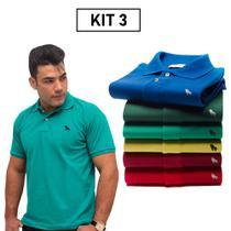 Promocao Camisa Gola Polo Masculina Basica Kit 3 Camisas - Estilo Rei