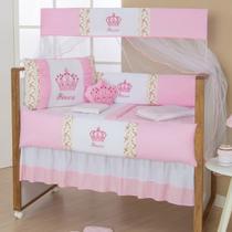 Protetor  Berço Imperial Rosa 10 Pçs Almofada Brinde - Gaby Baby Enxovais