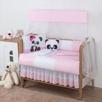 Protetor De Berço Menina Panda 10 Peças - Empório Casa Enxovais