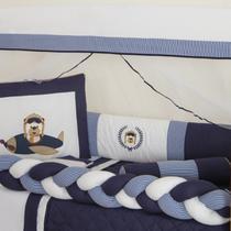 Protetor de Berço Menino Trança Ursinho Aviador Azul Marinho 10 peças - Anjos Enxovais