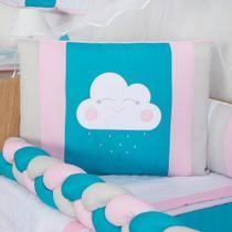 Protetor de Mini Berço Trança Menina Chuva de Bençãos 10 Peças - Anjos Enxovais