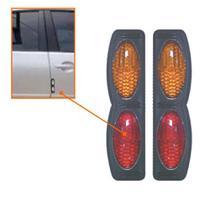 Protetor De Porta Preto Com Refletor Olho De Gato Vermelho/Laranja - Shekparts