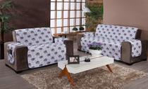 Protetor De Sofa 2 E 3 Lugares Com Porta Objetos Estampado - Celia Bordados